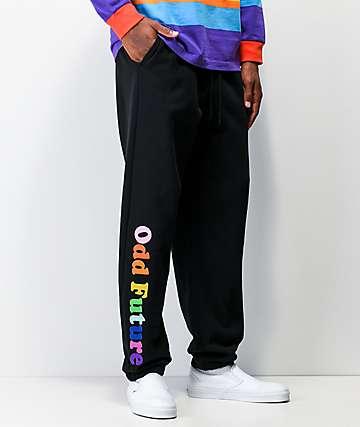 Odd Future Rainbow Text Black Sweatpants