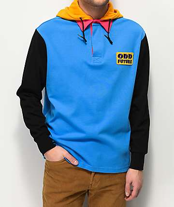 Odd Future Rugby Blue Hooded Long Sleeve Shirt
