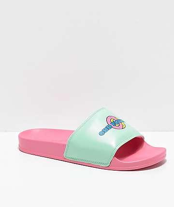 Odd Future Sliders sandalias en rosa y verde azulado