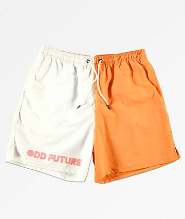 Odd Future Split Orange & White Elastic Waist Board Shorts