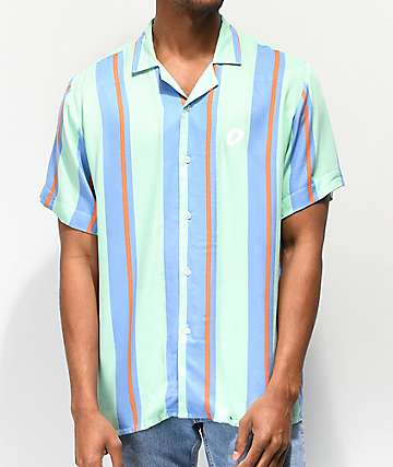 Odd Future Teal & Blue Vertical Striped Short Sleeve Button Up Shirt