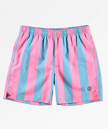 Odd Future Vertical Stripe Elastic Waist Board Shorts