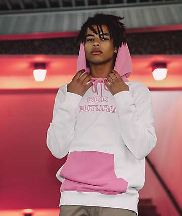 Odd Future White & Pink Colorblock Hoodie