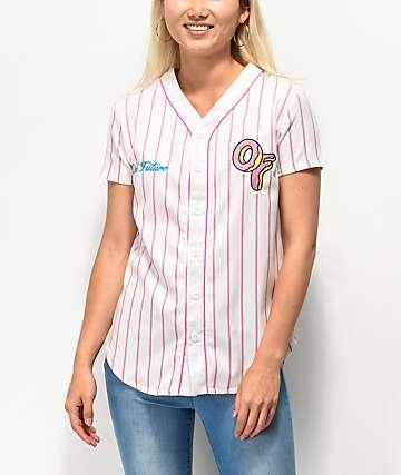 Odd Future White & Pink Striped Baseball Jersey