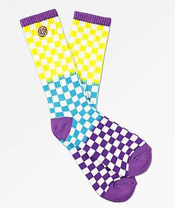 Odd Future calcetines amarillos, azules y morados de cuadros