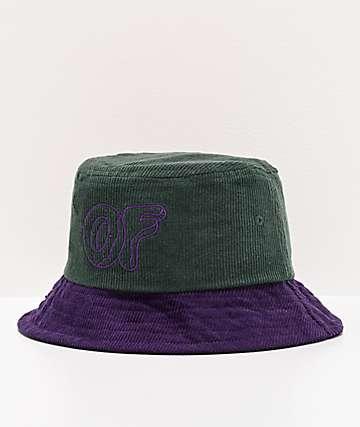 Odd Future sombrero de cubo de pana verde y morado