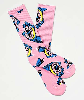Odd Future x Santa Cruz Allover Print Pink Crew Socks