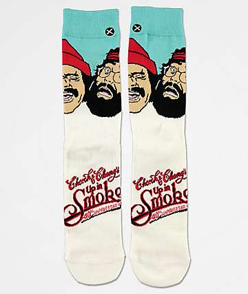 Odd Sox Up In Smoke White Crew Socks