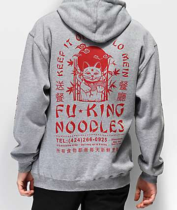 Open925 Lo Mein Ash Grey & Red Hoodie
