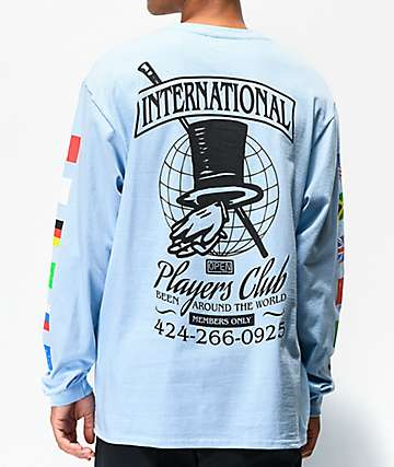 Open925 Players Club Light Blue Long Sleeve T-Shirt