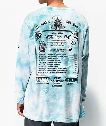 Open925 Wok This Way Aqua Tie Dye Long Sleeve T-Shirt