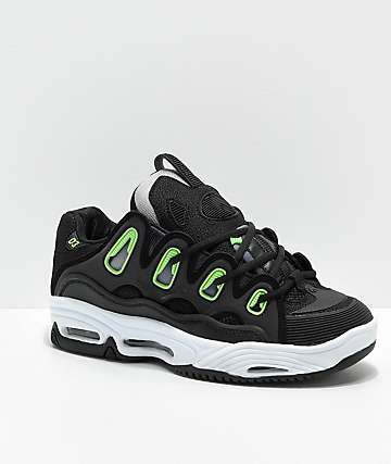 Osiris D3 2001 Black, White & Green Skate Shoes