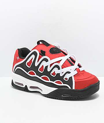 Osiris D3 2001 Red, Black & White Skate Shoes