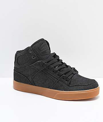 Osiris NYC 83 VLC Black & Gum Denim Skate Shoes