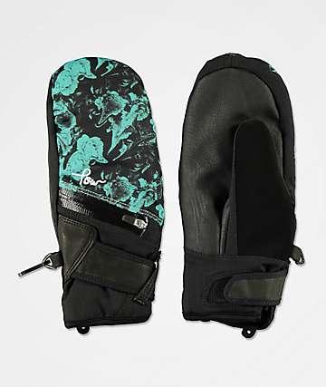 POW Astra Green & Black Snowboard Mittens