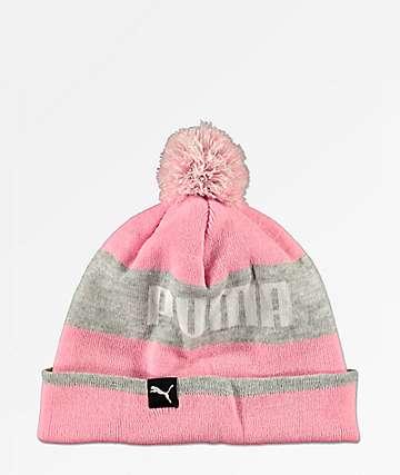 PUMA Block Pink & Grey Pom Beanie