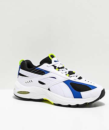 PUMA Cell Speed White, Blue & Neon Green Shoes