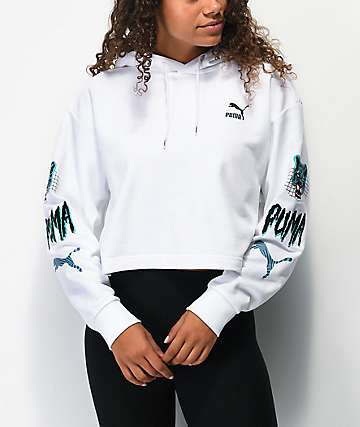 PUMA Claw White Crop Hoodie