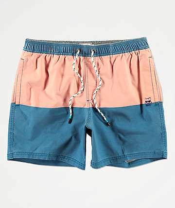 Party Pants Corsair shorts de baño rojos y azules
