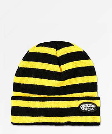 Petals and Peacocks Black & Yellow Stripe Beanie