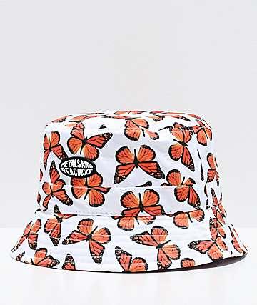 Petals and Peacocks Butterfly Effect sombrero de cubo blanco