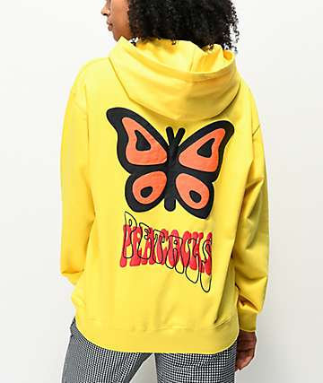 Petals and Peacocks Butterfly Yellow Hoodie