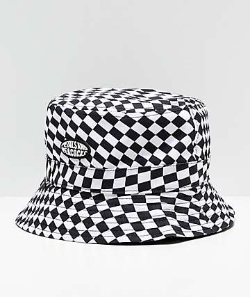 Petals and Peacocks Checkered Black & White Bucket Hat