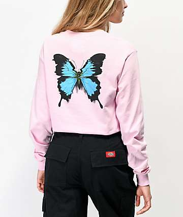 Petals and Peacocks Crazy Beautiful Butterfly Pink Long Sleeve T-Shirt