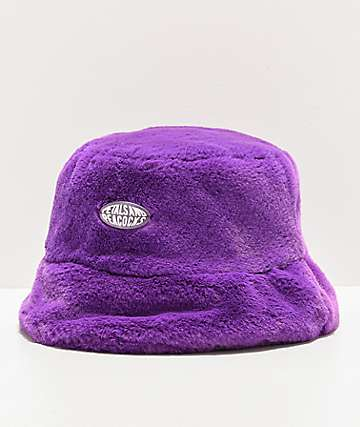 Petals and Peacocks Faux Fur Purple Bucket Hat