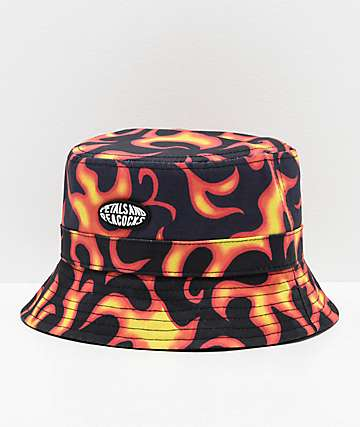 Petals and Peacocks Flames Black & Orange Bucket Hat
