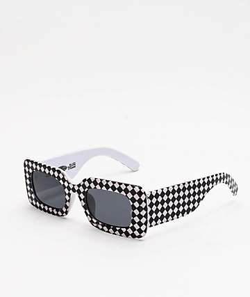 Petals and Peacocks Rhubic Warped Checkered Sunglasses