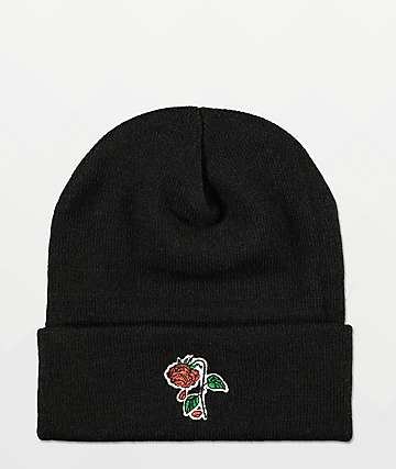 Petals and Peacocks Rose Black Beanie