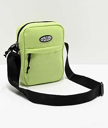 Petals and Peacocks Safety Green Shoulder Bag