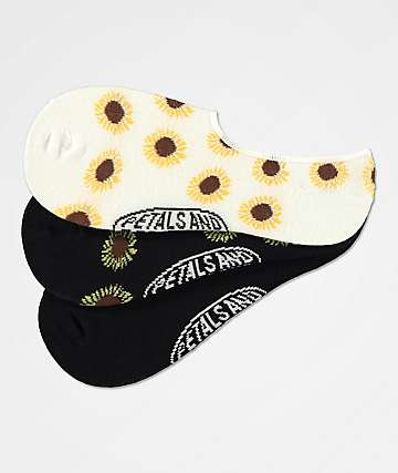 Petals and Peacocks Sunflowers Black & White 3 Pack No Show Socks