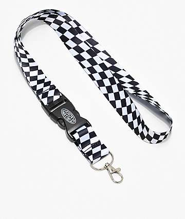 Petals and Peacocks Warped Black & White Checkered Lanyard
