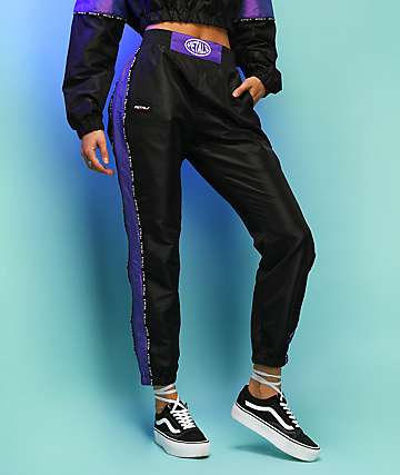 Petals by Petals and Peacocks Black & Iridescent Purple Track Pants