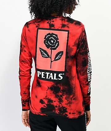 Petals by Petals and Peacocks Growth camiseta tie dye de manga larga roja y negra