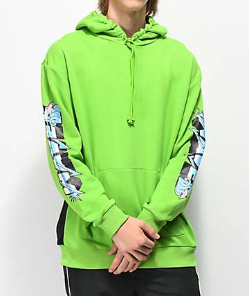 Pink Dolphin Electric Waves Green Hoodie