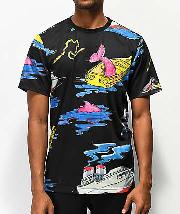 Pink Dolphin Sail Away Black T-Shirt