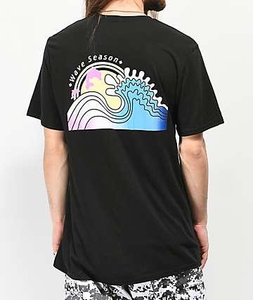 Pink Dolphin Wave Season Black T-Shirt