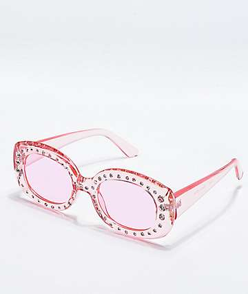 Pink Square Stone Sunglasses