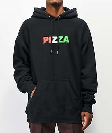 Pizza 3D Logo Black Hoodie