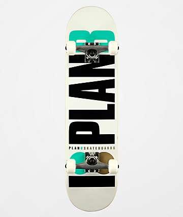 """Plan B Team OG White, Black & Blue 7.75"""" Skateboard Complete"""