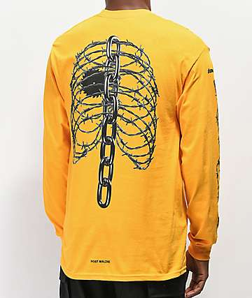 Post Malone Rib Cage Yellow Long Sleeve T-Shirt