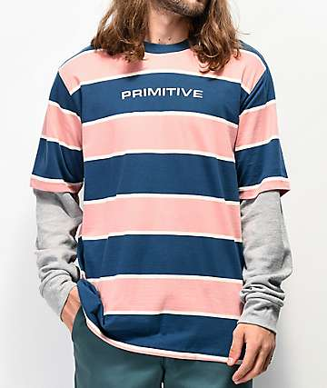 Primitive 2Fer Pink & Blue Stripe Knit Long Sleeve T-Shirt