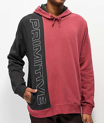 Primitive Blocks Burgundy & Black Hoodie