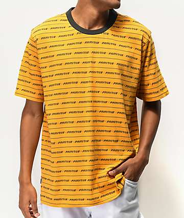 Primitive Boyle Yellow & Black Striped T-Shirt