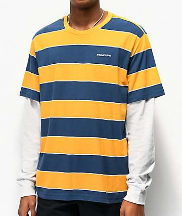 Primitive Bushwick Yellow Stripe Long Sleeve T-Shirt