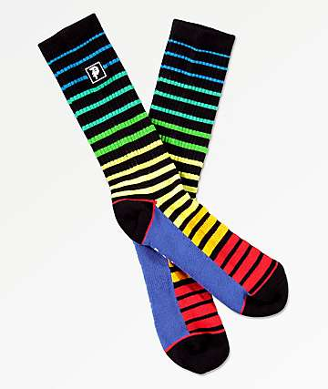 Primitive Dirty P Block Striped Crew Socks