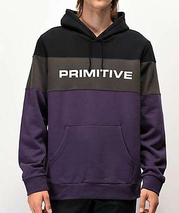 Primitive Levels sudadera con capucha negra, morada y gris